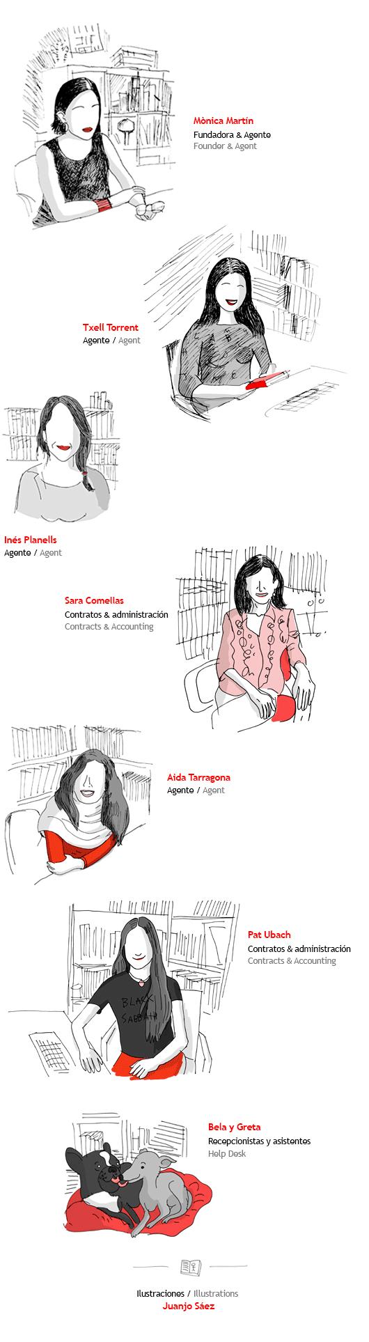 Mònica Martín, Txell Torrent, Inés Planells, Sara Comellas, Aida Tarragona. Ilustración: Juanjo Sáez